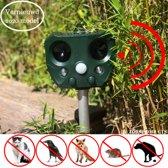 Premium Ultrasone Kattenverjager – Garden Protector Op Zonne-energie Met Oplaadbare Batterijen – kattenverschrikker – Muizenverjager – Vogelverjager – Waterproof – Inclusief Gratis Batterijen en USB Oplader