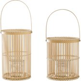 Bloomingville - Windlicht - Bamboe/Glas - Naturel - Set van 2 - Ø17xH30/Ø19xH25cm