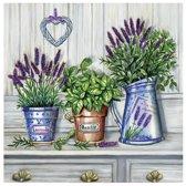 """VOORDEELPAK: 5 Pakjes van Servetten met bloemen potten print – """"Provence Fragrant"""", 33 cm - verpakking van 20 servietten"""
