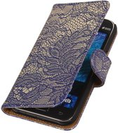 Samsung Galaxy Core Prime - Lace Kanten Booktype Blauw - Book Case Wallet Cover Hoesje