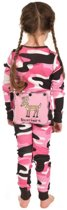 Kinderpyjama LazyOne Flapjacks Onesie roze legerprint met leuke kontflap - 128