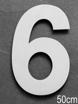 Xaptovi Huisnummer 6 Materiaal: RVS - Hoogte: 50cm - Kleur: RVS