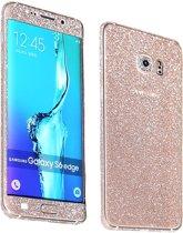 Galaxy S6 Edge Sparkling Diamond / Glitter insulation sticker case cover hoesje Goud -