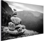 Balancerende stenen in Noorwegen Aluminium 120x80 cm - Foto print op Aluminium (metaal wanddecoratie)