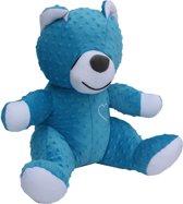 Zoemende teddybeer - slaapknuffel - met witte ruis geluid - circa 45cm - blauw