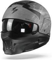 Scorpion EXO-Combat Evo Incursion Matt Silver Black Jet Jethelm - Motorhelm - Maat L