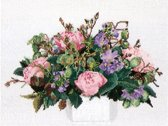 Thea Gouverneur Borduurpakket 1080A Bouquet Pioenen - Aida stof 100% katoen