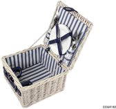 Picknickmand 2 Persoons Blauw/Wit Streep
