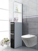 Badkamerkast badkamermeubel Tilosa roomdivider wit zwart