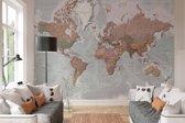 Wereldkaart - decoratief Nederlandstalig  - Fotobehang 368 x 254 cm - Papier