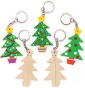 Houten sleutelhangers in de vorm van een kerstboom (8 stuks per verpakking) Kerstknutselwerkjes en -decoraties voor kinderen