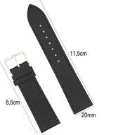 Horlogeband Kalfsleder - 20mm Aanzetmaat - Horlogebandje met Naad + Push Pin - Zwart - Sarzor