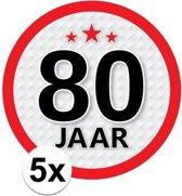 5x 80 Jaar leeftijd stickers rond 15 cm - 80 jaar verjaardag/jubileum versiering 5 stuks