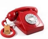 GPO 746PUSHRED Telefoon met druktoetsen klassiek jaren '70 ontwerp