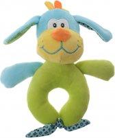 Eddy Toys pluche rammelaar hond blauw/groen 16 cm
