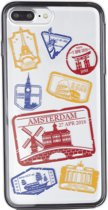 iPhone 7 / 8 PLUS 2in1 Passport stamps Amsterdam travel cover souvenir gift