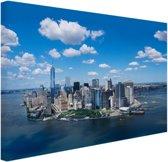 FotoCadeau.nl - Luchtfoto van Manhattan Skyline Canvas 80x60 cm - Foto print op Canvas schilderij (Wanddecoratie)