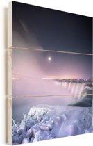Ijskoude omgeving rondom de Niagarawatervallen Vurenhout met planken 60x80 cm - Foto print op Hout (Wanddecoratie)