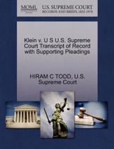 Klein V. U S U.S. Supreme Court Transcript of Record with Supporting Pleadings