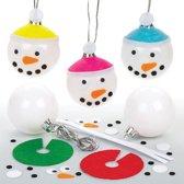 Sets met kerstballen met sneeuwpopversiering voor kinderen om in de kerstboom te hangen - Creatief kinderspeelgoed om zelf te ontwerpen (verpakking van 6)