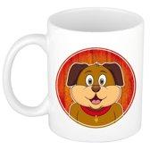 1x Hond beker / mok - 300 ml keramiek - honden dieren beker voor kinderen
