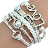 Fako Bijoux® - Multi Armband - Sleutel Hart Gesp Love - Wit