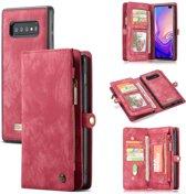 CASEME Samsung Galaxy S10 Plus Leren Portemonnee Hoesje - met backcover (rood)