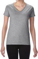 Basic V-hals t-shirt grijs voor dames - Casual shirts - Dameskleding t-shirt grijs XL (42/54)