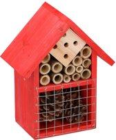 Rood insectenhotel 19 cm - Hotel/huisje voor insecten - Bijenhuis/vlinderhuis