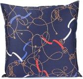 Sierkussen - Layton - Paarden riemen, bitten en kettingen - 60x60 cm - Blauw