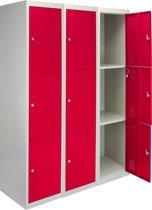 3x Lockers – Lockerkast metaal – locker kledingkast – Rood - 3 Deurs – lockerkastje