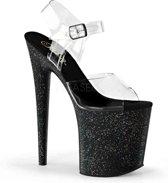 EU 38 = US 8   FLAMINGO-808MG   8 Heel, 4 PF Ankle Strap Sandal w/Mini Glitter