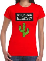 Wil je een Knuffel tekst t-shirt rood dames - dames shirt Wil je een Knuffel? L