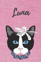 Luna Katzen-Malbuch / Notizbuch / Tagebuch: Individuelles personalisiertes blanko M�dchen & Frauen Namen Notizbuch, blanko DIN A5 Seiten. Ideal als Un