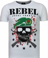 Local Fanatic Skull Rebel - Rhinestone T-shirt - Wit - Maten: XXL