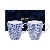 Tokyo Design Studio Nippon Blue Set van 2 Mokken 380 ml. In fraaie Geschenkdoos