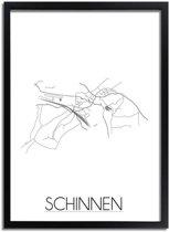 DesignClaud Schinnen Plattegrond poster A3 + Fotolijst zwart