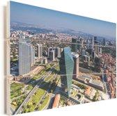 Luchtfoto van Istanbul overdag Vurenhout met planken 80x60 cm - Foto print op Hout (Wanddecoratie)