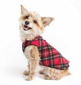 GoldPaw - Stretch Fleece hondenjas - Rood geruite Pullover - maat 30 - grote maten
