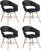 24Designs Inka Stoel - Set Van 4 - Zwart - Houten Poten