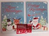 10 Kerstkaarten met enveloppen - Fijne feestdagen - kerstman - sneeuwman