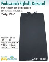 Homéé - Kokssloof   zwart   65% Polyester 35% Katoen 240g. p/m²   set van 2 stuks  100x100cm