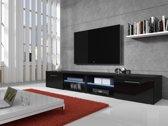 Meubella - TV-meubel Bash II LED - Zwart - 240 cm (2x 120)