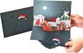 Popcards popupkaarten - Kerstkaart kerstman arrenslee kersthuisjes met hertjes en sneeuwpop pop-up kaart