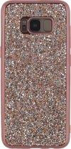 Xccess TPU Case Samsung S8 Plus Metallic Edge with Glitter Stones Pink
