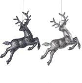 Assortiment Van 2 Zilveren En Grijze Springende Herten Ornamenten 20Cm, 6 Stuks