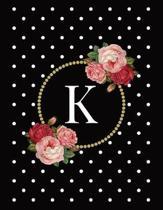 Black and White Polka Dot Vintage Floral Monogram Journal with Letter K