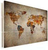 Wereldkaarten.nl - Artistieke wereldkaart op vurenhout 90x60 cm