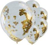 Ballonnen - gevuld met gouden confetti (5 stuks)