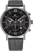 Tommy Hilfiger TH1710395 Horloge  - Leer - Zwart - Ø  44 mm